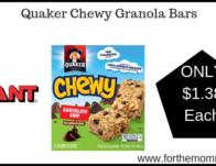 Giant: Quaker Chewy Granola Bars JUST $1.38 Each Thru 4/11!