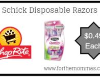 ShopRite: Schick Disposable Razors JUST $0.49 Each Starting 4/7!