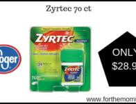 Kroger: Zyrtec 70 ct ONLY $28.99 {Reg $37.99}