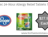 Kroger: Zyrtec 24-Hour Allergy Relief Tablets 70 ct ONLY $27.99 {Reg $37.99}