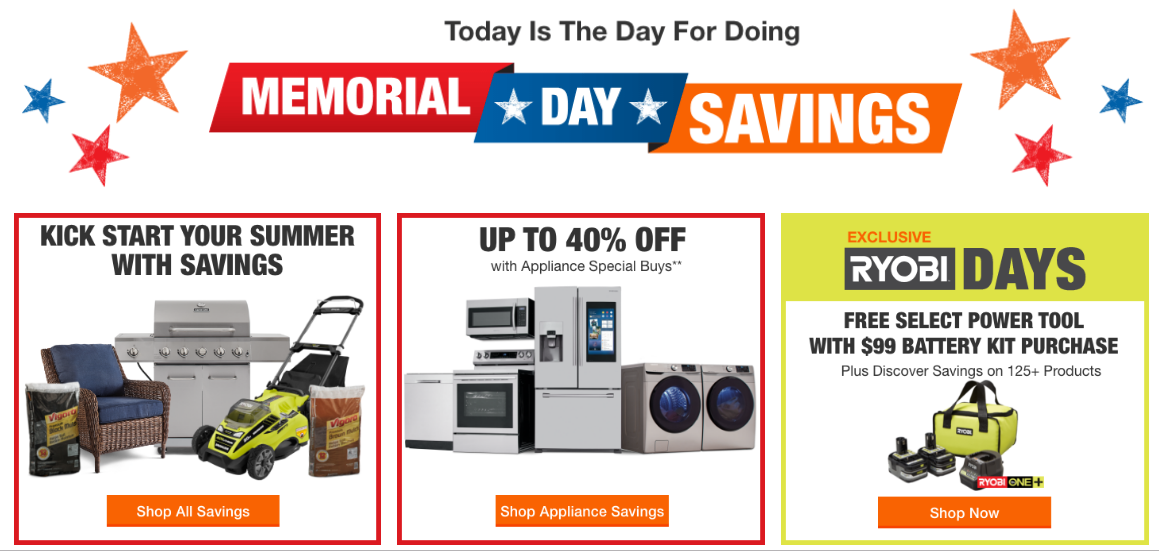 Home Depot Memorial Day Sale Up To 40 Off Ftm