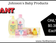 Giant: Johnson's Baby Products ONLY $0.38 Each Starting 5/10!