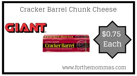 Giant: Cracker Barrel Chunk Cheese ONLY $0.75 Each Starting 5/24!