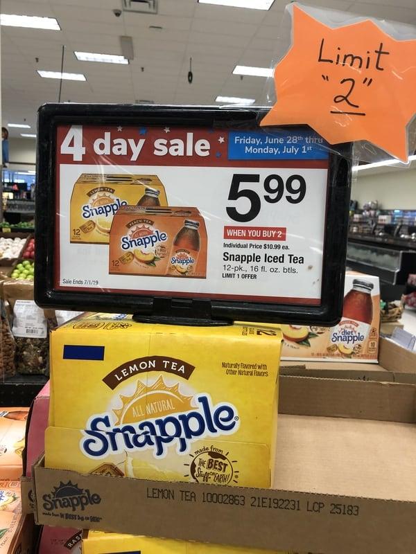 Acme: Snapple Drinks ONLY $0.50 Per Bottle Starting 8/23!