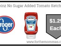 Kroger: Heinz No Sugar Added Tomato Ketchup ONLY $1.29 {Reg $2.19}