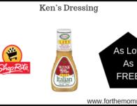 ShopRite: Ken's Dressing As Low As FREE Thru 6/15!
