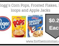 Kellogg's Corn Pops, Frosted Flakes, Froot loops and Apple Jacks As Low As $0.29