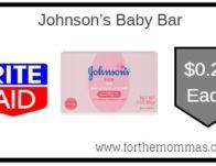 Rite Aid: Johnson's Baby Bar ONLY $0.24 Each Through 8/24