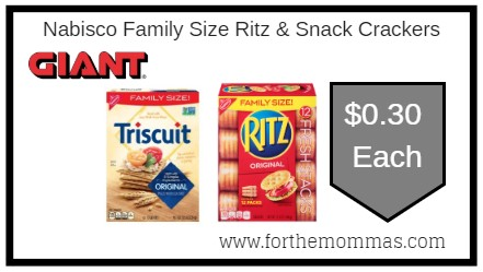 Giant: Nabisco Family Size Ritz & Snack Crackers ONLY $0.30 Each Starting 8/16!