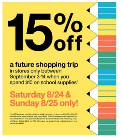 Target:15% off Coupon When you Spend $10 on School Supplies (8/24-8/25)