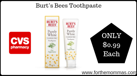 CVS: Burt's Bees Toothpaste ONLY $0.99 Starting 2/9