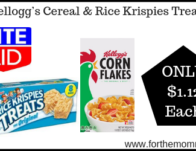 Kellogg's Cereal & Rice Krispies Treats ONLY $1.12 Each Starting 9/22