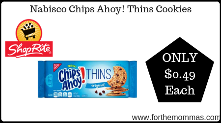 picture relating to Chips Ahoy Coupons Printable known as ShopRite: Nabisco Chips Ahoy! Thins Cookies Simply $0.49 Just about every