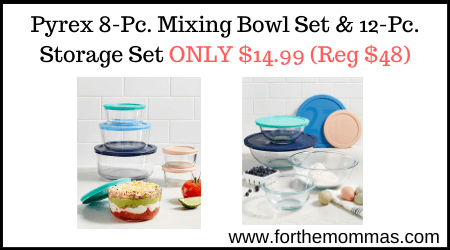 Pyrex 8-Pc. Mixing Bowl Set & 12-Pc. Storage Set ONLY $14.99 (Reg $48)