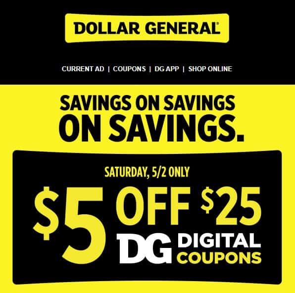 Dollar General Coupon 5 Off 25 On 2 20